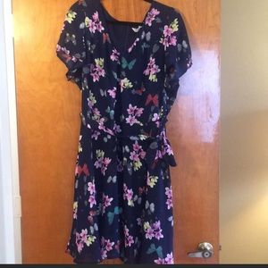Floral and Butterfly print dress - Navy